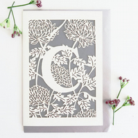 Letter C card, Personalized letter card, Initial birthday card, Initial card