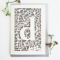 Letter D card, Personalized letter card, Initial birthday card, Initial card