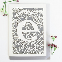 Letter E card, Personalized letter card, Initial birthday card, Initial card