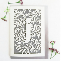 Letter J card, Personalized letter card, Initial birthday card, Initial card