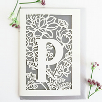 Letter P card, Personalized letter card, Initial birthday card, Initial card