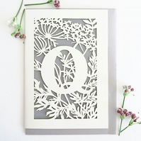 Letter Q card, Personalized letter card, Initial birthday card, Initial card
