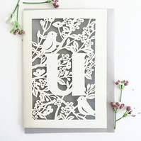 Letter U card, Personalized letter card, Initial birthday card, Initial card