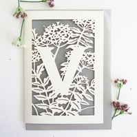 Letter V card, Personalized letter card, Initial birthday card, Initial card