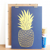 Pineapple print, Pineapple lover gift, Tropical print, Housewarming gift