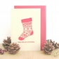 Christmas card, Merry Christmas card, Santa stocking card, Christmas stocking