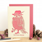 Christmas card, Christmas card for men, Merry Christmas card, Owl card