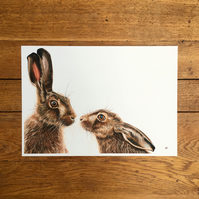 Kissing Hares Unmounted Print - Kissing Hares Painting