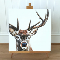 Stag Limited Edition Canvas Print - Stag Painting