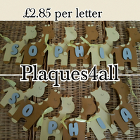 Girrafe wooden handmade personalised wooden bunting new gift 6 letters