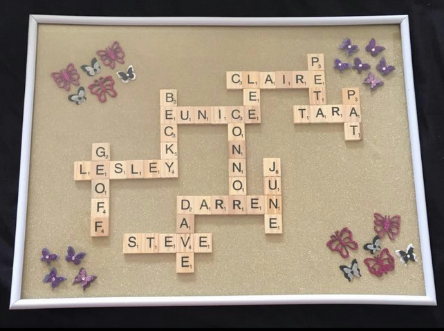 Large Scrabble word art frame