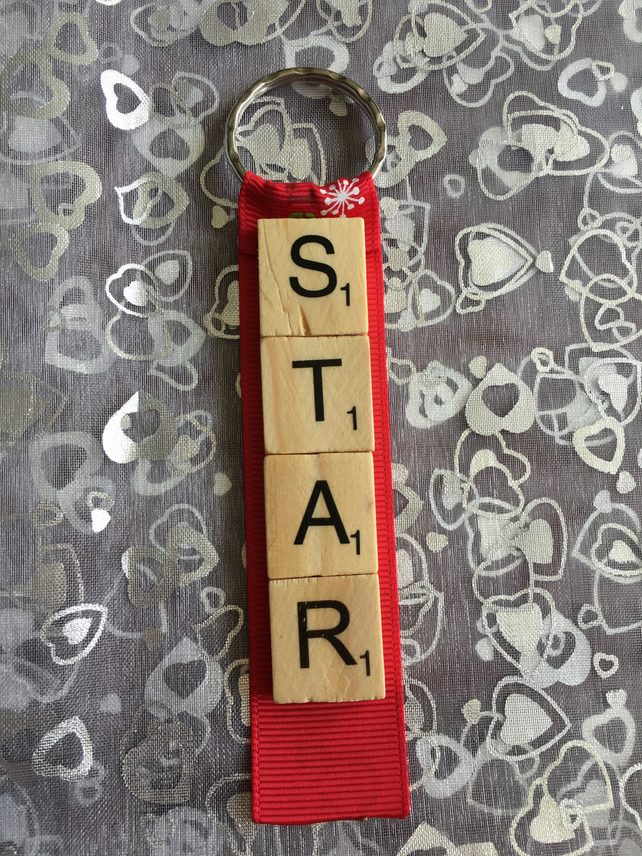 4 letter Christmas scrabble decoration, keyring
