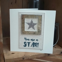 'You Are A Star!' handmade greetings card