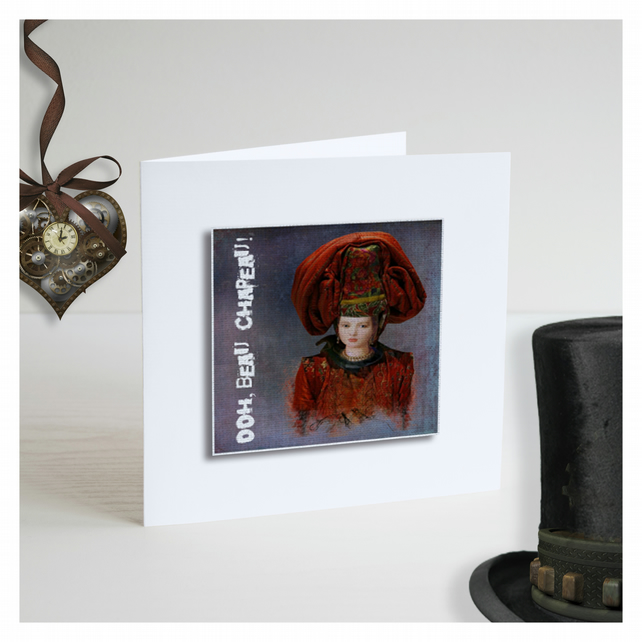 'Ooh, Beau Chapeau! 03' Handmade Greetings Card