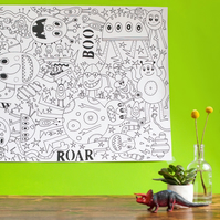 Roar! A giant monster colouring poster!