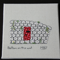 Postbox on the Wall -  Applique &  Embroidered,  Canvas Wall Art