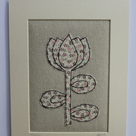 Tulip - Applique and Freehand Machine Embroidered Textile Art
