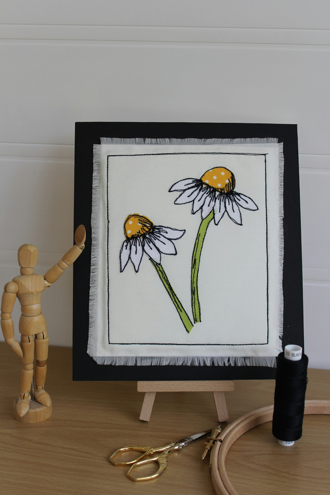 Daisy, Daisy - Freemotion Embroidered Textile Art, Summer,Flower, Nature Picture