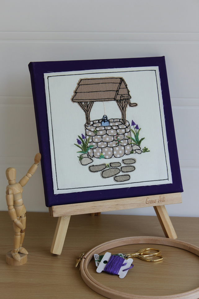 Make a Wish! Wishing Well Textile Art,  Freemotion, Hand Embroidered, Applique