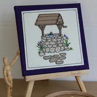 Wishing Well Textile Art, Artwork on Canvas, Hand Embroidery, Free Motion,