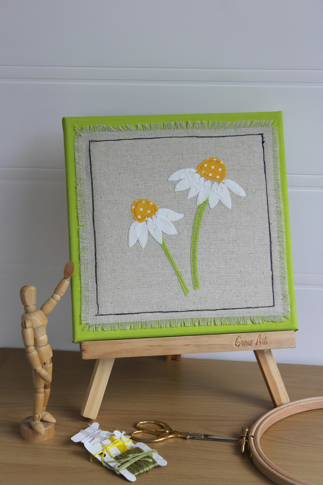 Daisies - Textile Art Picture, Hand Embroidered, Applique, Artwork on Canvas