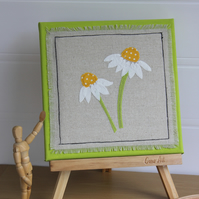 Daisies - Textile Art Picture, Hand Embroidered, Artwork on Canvas, Wall Art