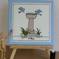 Time For A Dip! Birdbath Textile Art, Freemotion, Hand Embroidered, Applique