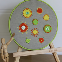 Funky Circles Embroidered Felt Textile Art, Applique, Hooped Art, Abstract