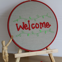 Embroidered Hoop Welcome Sign, Hand Embroidered, Greeting,