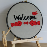 Welcome Sign, Felt Applique Hand Embroidered Hoop, Greeting Sign