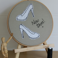 Posh 'New Shoes' Textile Art, Freemotion Embroidered, Original, Hooped Wall Art