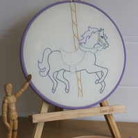 Carousel Horse Hand Embroidered Textile Art, Hooped Art, Picture, Nursery