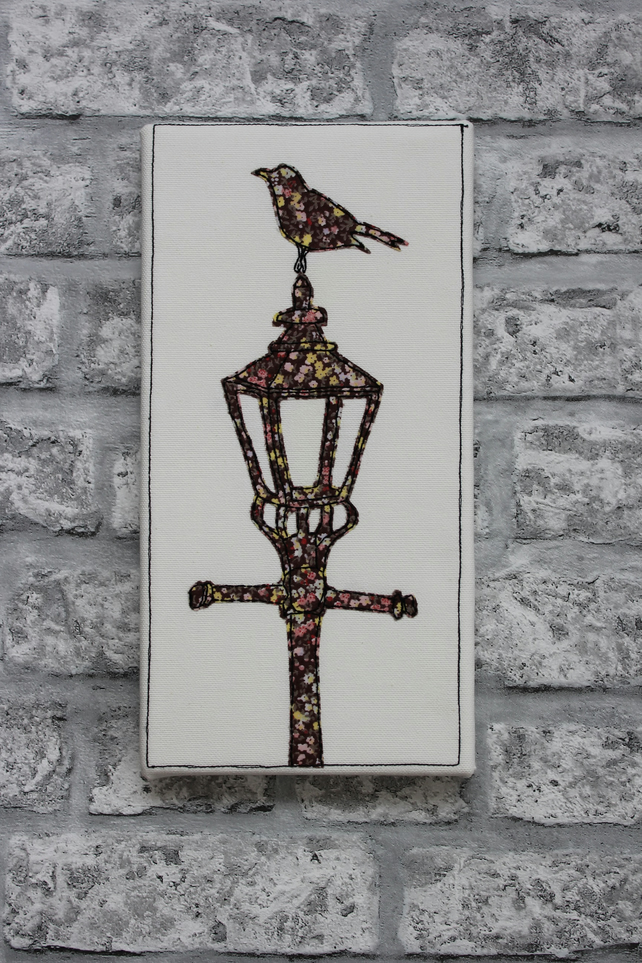 Blackbird on Lamp-post - Original, Embroidered and Applique Textile Art Picture