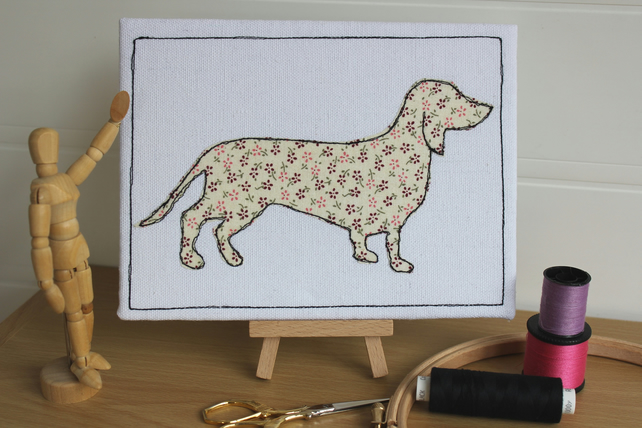 Sausage Dog Textile Art, Freemotion Embroidered, Floral, Applique Picture