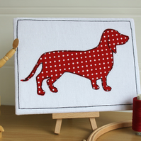 Sausage Dog Textile Art, Spotty, Red, Freemotion Embroidered, Applique Picture