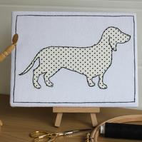Sausage Dog Textile Art, Freemotion, Embroidered, Applique, Dotty, Picture