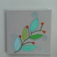 Spring Leaves Textile Art, Canvas, Embroidered Fabric Picture, Wall Art