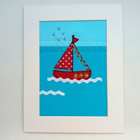 Little Red Boat, Applique, Embroidered, Textile Art, Wall Art, Mounted Picture
