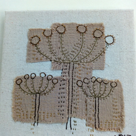 Seedhead Trio, Hand Embroidered Collage, Canvas, Textile Art