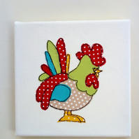 Roger The Rooster, Freemotion Embroidered, Textile Art, Canvas, Wall Art