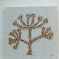 Large Seedhead, Applique, Hand Embroidered, Textile Art, Canvas