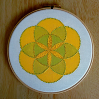 'Seed of Life' Abstract Textile Art, Yellow, Hooped Art, Embroidery, Wall Art