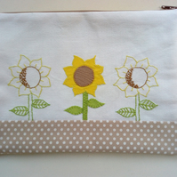Sunflowers Trio-Embroidered Make Up Bag, Accessories, Toiletries, Handmade