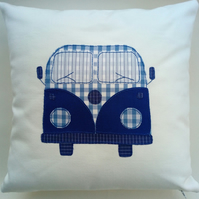 Blue Campervan Cushion Cover, Applique and Hand Embroidered