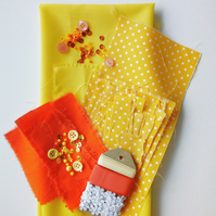 'Citrus' - Fabrics and Embellishments Pack -  Crafts, Sewing, Makers, Supplies