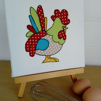 Chicken Textile Art Canvas, Farm Animal, Wall Art, Home Decor, Applique,