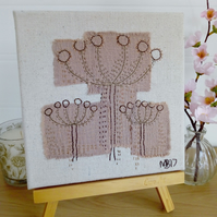 Seed Head Trio Textile Art, Hand Embroidered Collage, Canvas, Home, Wall Art,