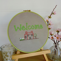 New Home Textile Art, Hand Embroidered, Hooped Wall Art, House Warming Gift