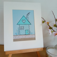 House Textile Art Picture, Blue, Moving House, New Home Gift, Hand Embroidered