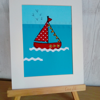 Boat Textile Art, Embroidered, Mounted, Red, Sailing, Nautical, Sea, Coastal,